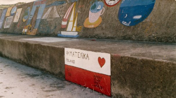 On the way back from her first ARC, Mateńka passing by the Azores and leaving the traditional paining, Horta on 6.9.1989